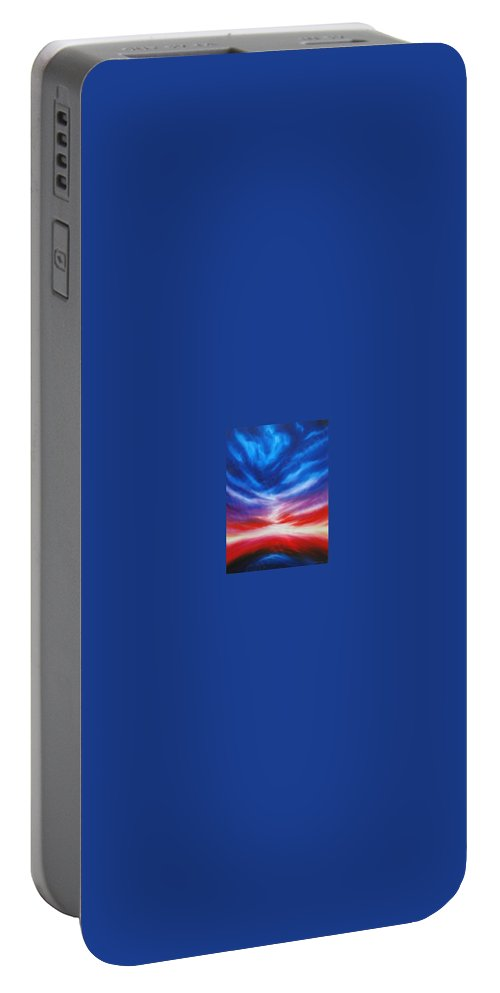Tempest Portable Battery Charger featuring the painting Genesis IIi by James Christopher Hill