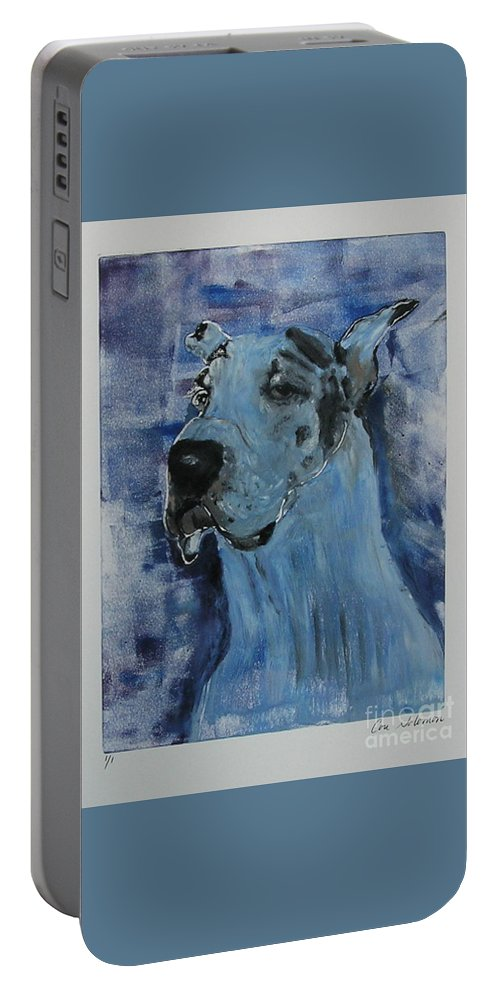 Great Dane Portable Battery Charger featuring the mixed media Gentle Giant by Cori Solomon