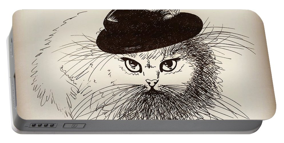 Cat Portable Battery Charger featuring the drawing Gentleman by Pookie Pet Portraits