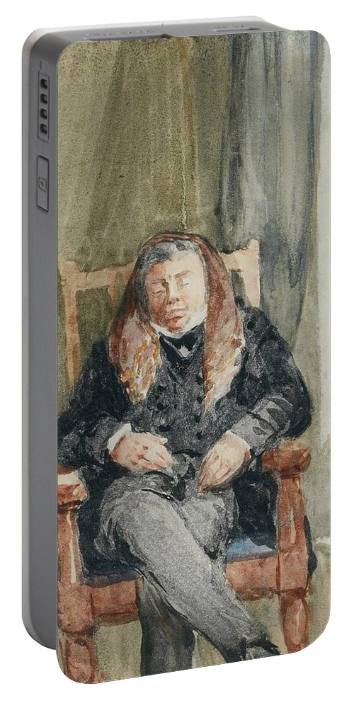 David Cox Portable Battery Charger featuring the painting Gentleman Taking A Nap by MotionAge Designs