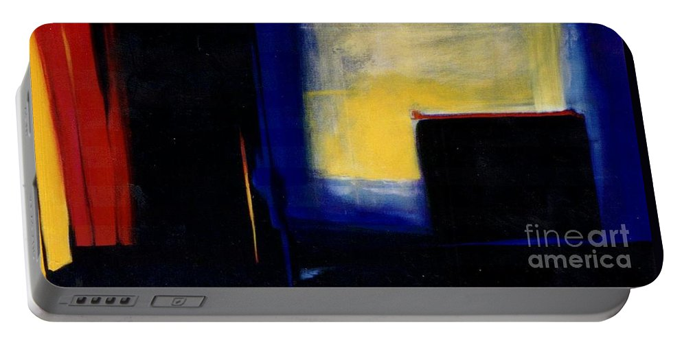 Abstract Portable Battery Charger featuring the painting Geometric 2 by Marlene Burns