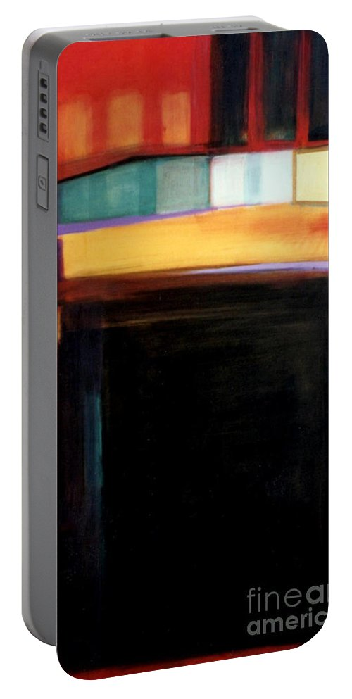 Abstract Portable Battery Charger featuring the painting Geometrics 4 Loose Ends by Marlene Burns
