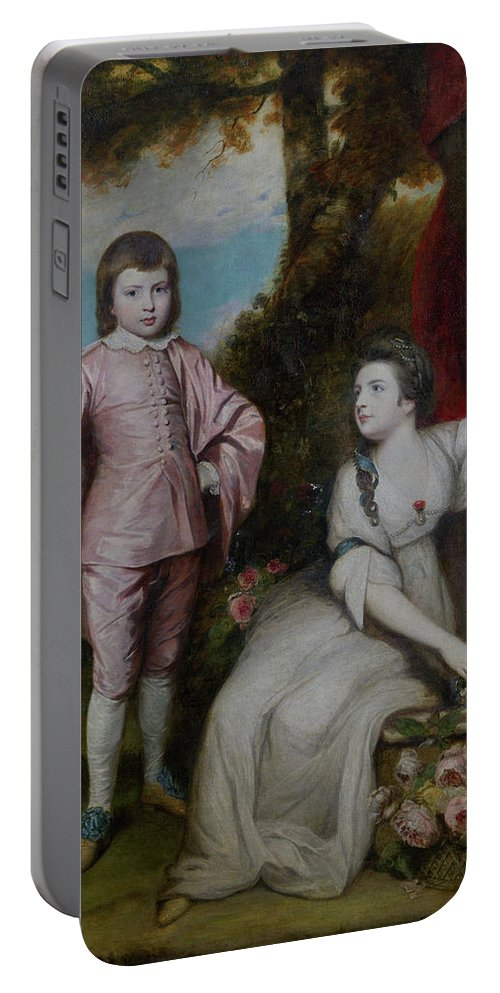 British Portable Battery Charger featuring the painting George Capel, Viscount Malden, And Lady Elizabeth Capel by Joshua Reynolds