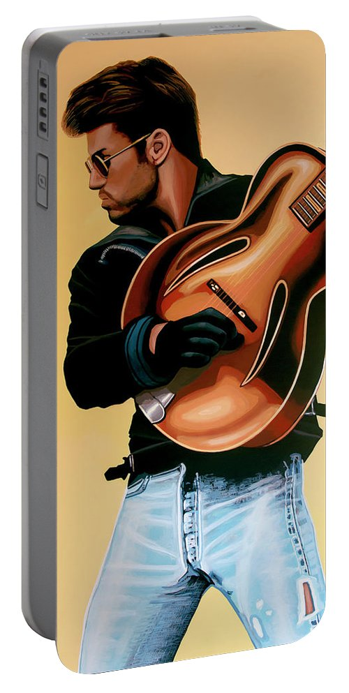 George Michael Portable Battery Charger featuring the painting George Michael Painting by Paul Meijering