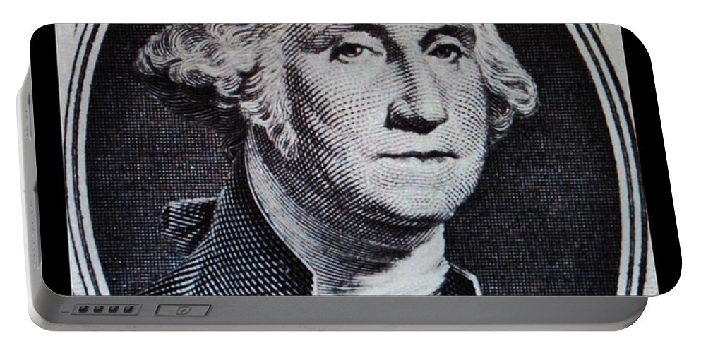 Black And White Portable Battery Charger featuring the photograph George Washington by Rob Hans