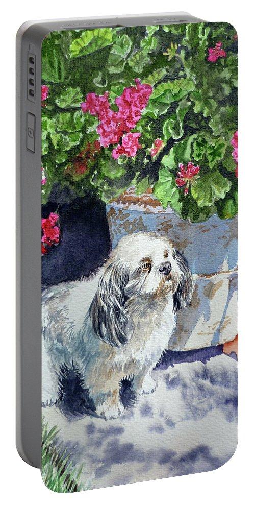 Animal Portrait Portable Battery Charger featuring the painting Georgie by Irina Sztukowski