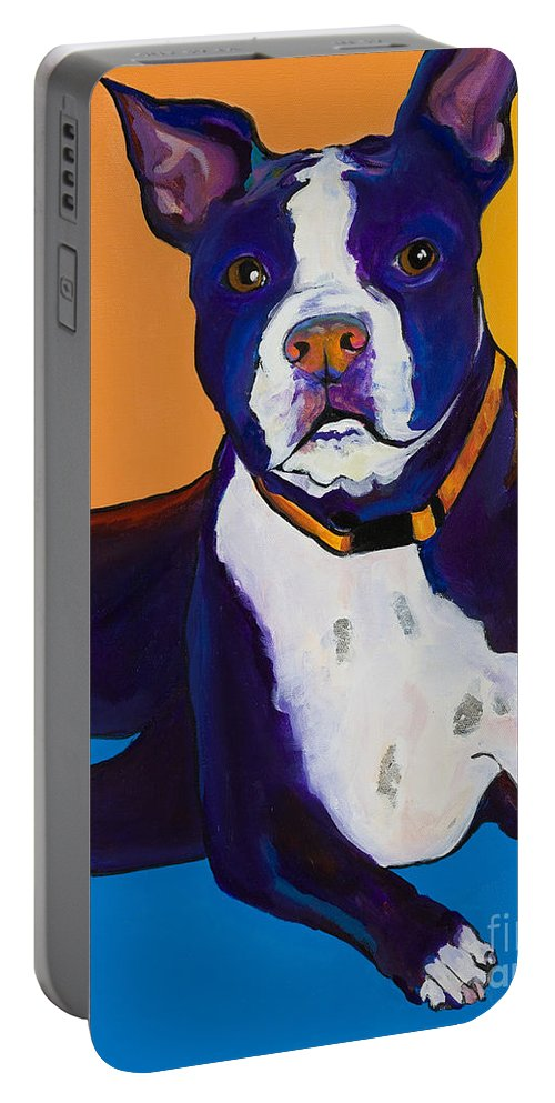 Boston Terrier Portable Battery Charger featuring the painting Georgie by Pat Saunders-White