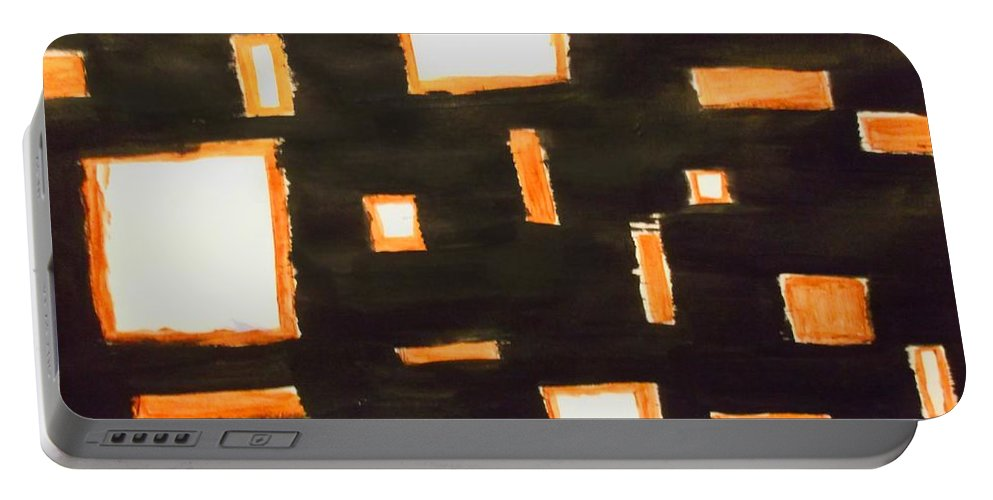Shape Portable Battery Charger featuring the painting Geosequence In Black And Copper by Alexis Keels