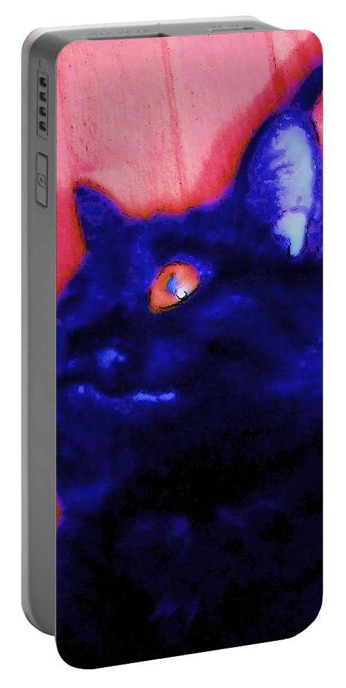 Cat Portable Battery Charger featuring the photograph Gepetto The Cat Godzilla by Eric Schiabor