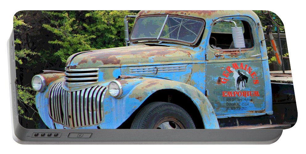 Portable Battery Charger featuring the photograph Geraine's Blue Truck by Matalyn Gardner