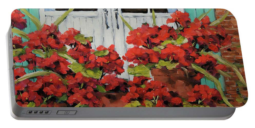 Floral Scene Portable Battery Charger featuring the painting Geraniums On The Porch by Richard T Pranke