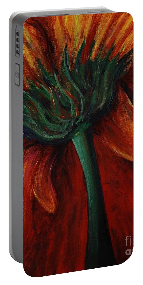 Gerbera Daisy.daisy Portable Battery Charger featuring the painting Gerbera Daisy by Nadine Rippelmeyer