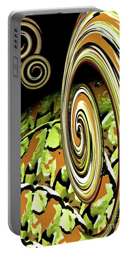 Abstract Portable Battery Charger featuring the digital art Germ In Nation by Gwyn Newcombe