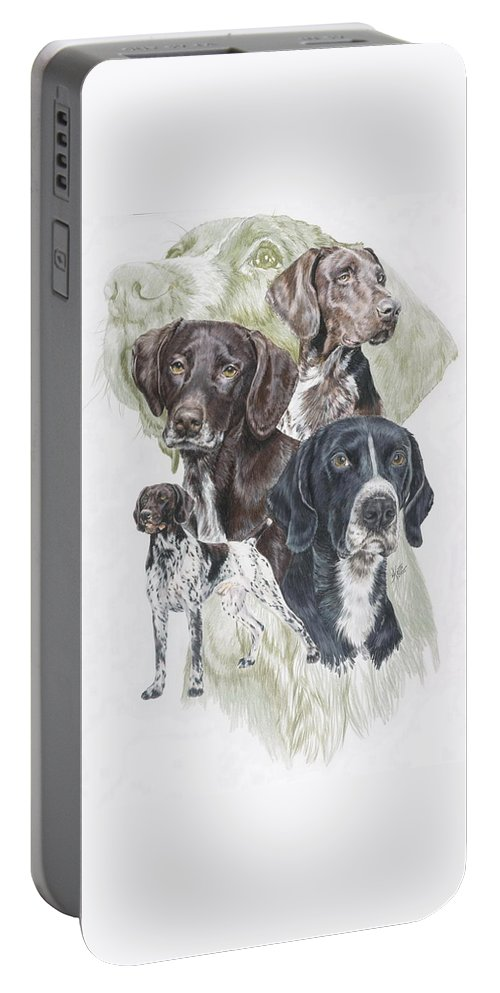 Gshp Portable Battery Charger featuring the mixed media German Shorted-haired Pointer Revamp by Barbara Keith