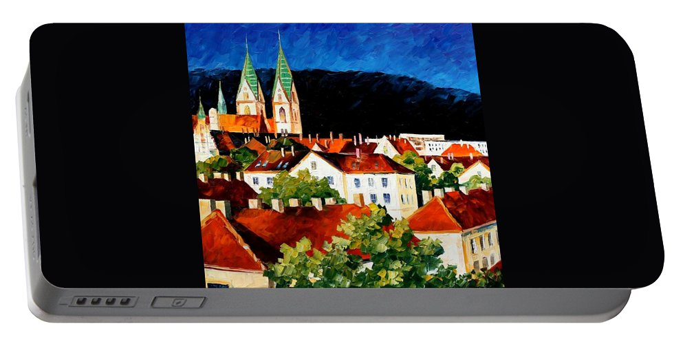 City Portable Battery Charger featuring the painting Germany - Freiburg by Leonid Afremov