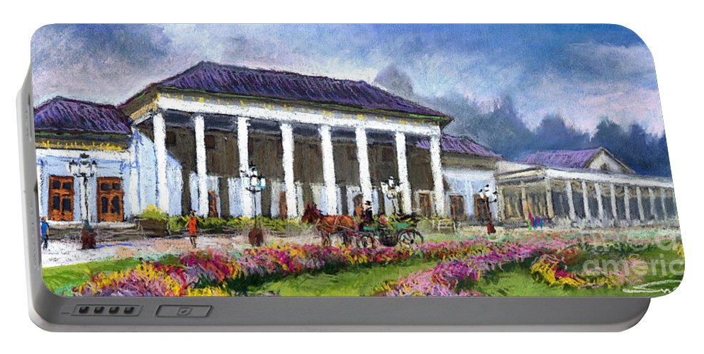 Pastel Portable Battery Charger featuring the painting Germany Baden-baden Kurhaus Kasino by Yuriy Shevchuk