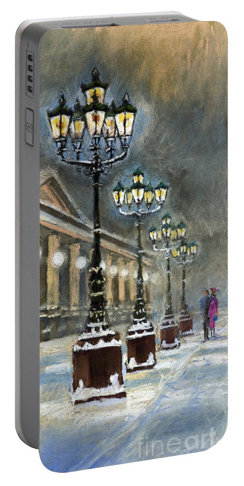Pastel Portable Battery Charger featuring the painting Germany Baden-baden Kurhaus by Yuriy Shevchuk