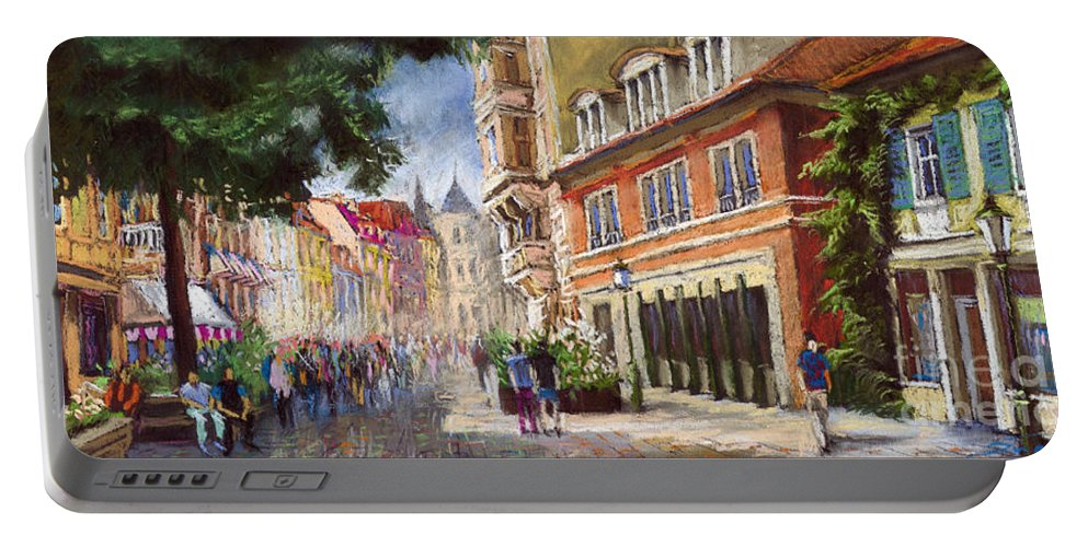 Pastel Portable Battery Charger featuring the painting Germany Baden-baden Lange Str by Yuriy Shevchuk