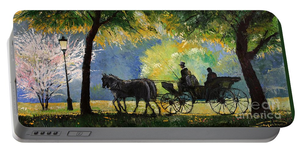 Oil Portable Battery Charger featuring the painting Germany Baden-baden Lichtentaler Allee Spring by Yuriy Shevchuk