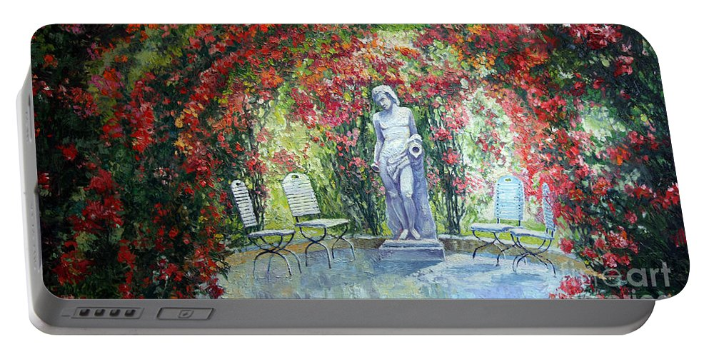 Oil Portable Battery Charger featuring the painting Germany Baden-baden Rosengarten 02 by Yuriy Shevchuk