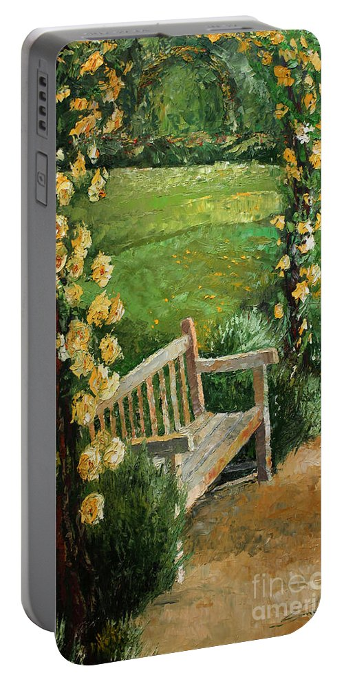Oil Portable Battery Charger featuring the painting Germany Baden-Baden Rosengarten by Yuriy Shevchuk