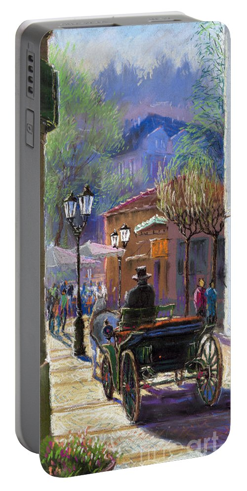 Pastel Portable Battery Charger featuring the painting Germany Baden-baden Spring Ray by Yuriy Shevchuk