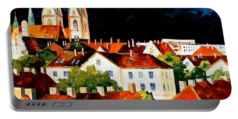 Afremov Portable Battery Charger featuring the painting Germany Freiburg by Leonid Afremov