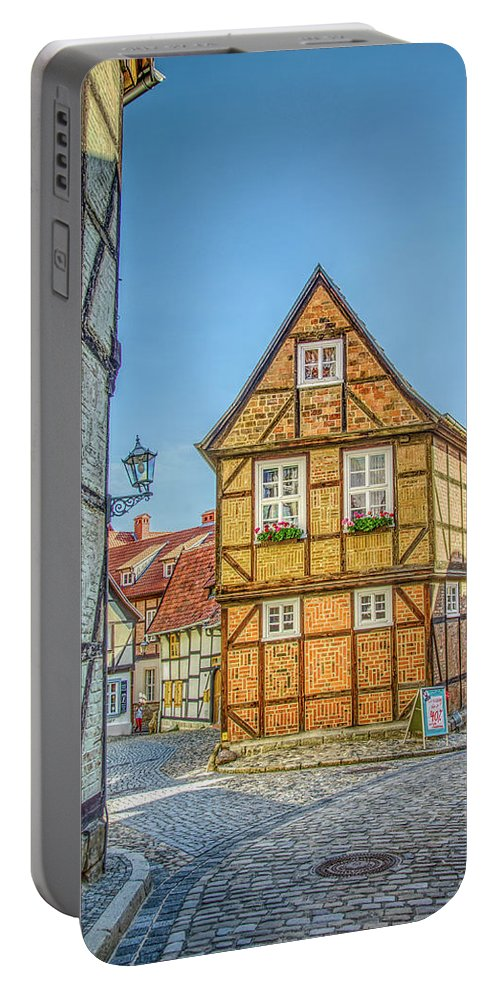 Quedlinburg Portable Battery Charger featuring the photograph Germany - Half-timbered Houses And Alleys In Quedlinburg by Ina Kratzsch