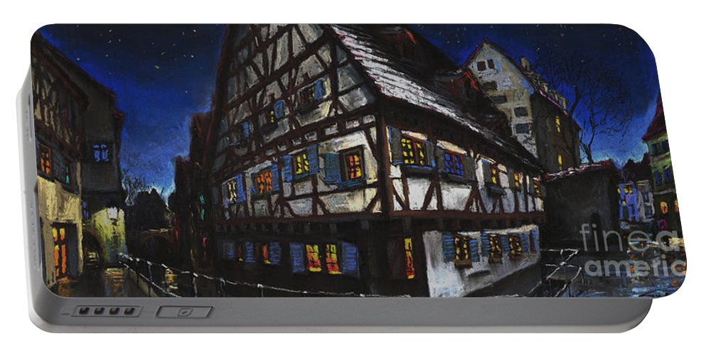 Pastel Portable Battery Charger featuring the painting Germany Ulm Fischer Viertel Schwor-haus by Yuriy Shevchuk