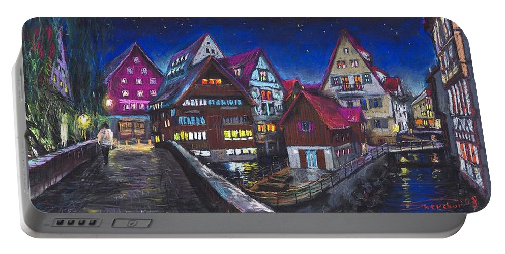 Pastel Portable Battery Charger featuring the painting Germany Ulm Fischer Viertel by Yuriy Shevchuk
