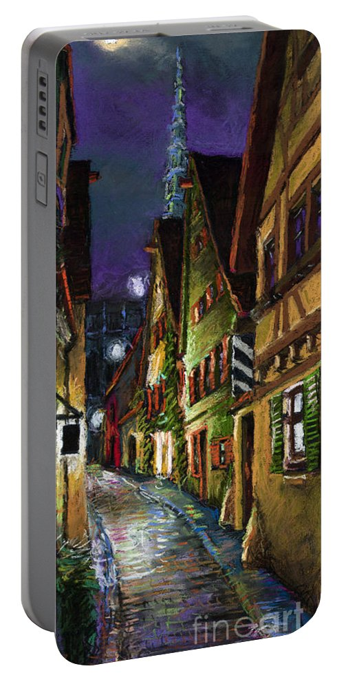 Pastel Portable Battery Charger featuring the painting Germany Ulm Old Street Night Moon by Yuriy Shevchuk