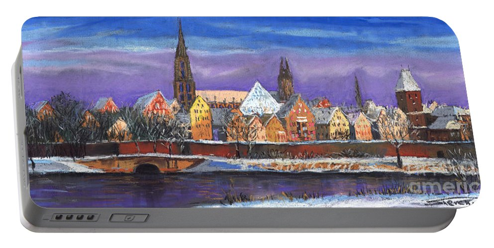 Pastel Portable Battery Charger featuring the painting Germany Ulm Panorama Winter by Yuriy Shevchuk