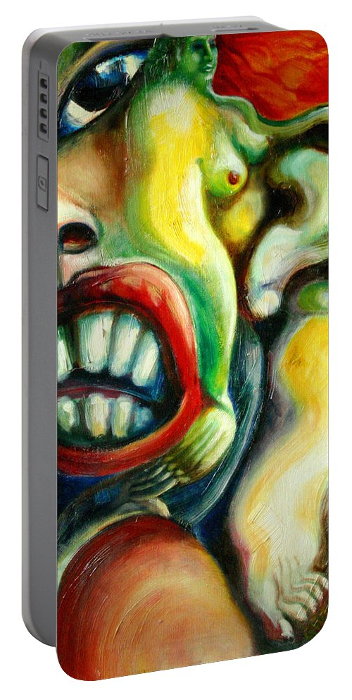 Painting Portable Battery Charger featuring the painting Germination by Gideon Cohn