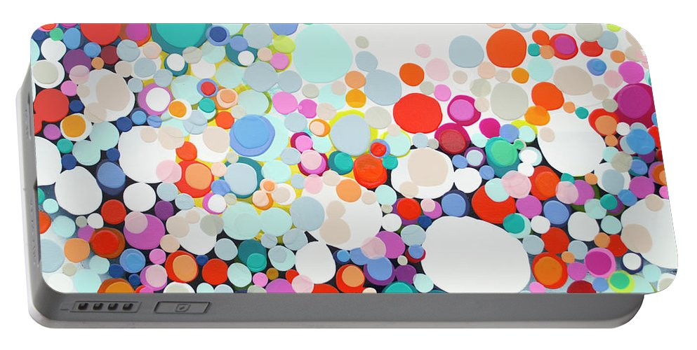 Abstract Portable Battery Charger featuring the painting Get Home Late by Claire Desjardins