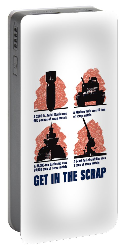 Scrap Metal Portable Battery Charger featuring the painting Get In The Scrap - Ww2 by War Is Hell Store