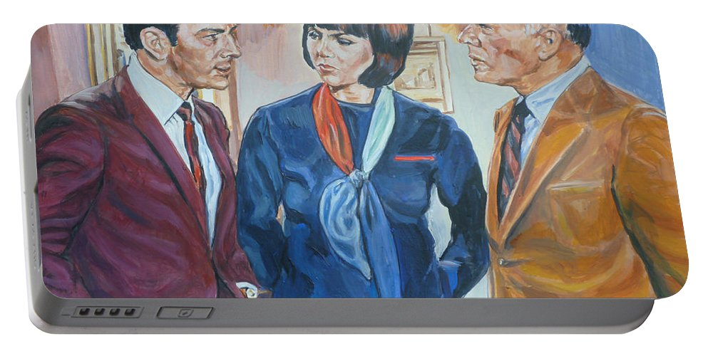 Maxwell Smart Portable Battery Charger featuring the painting Get Smart by Bryan Bustard