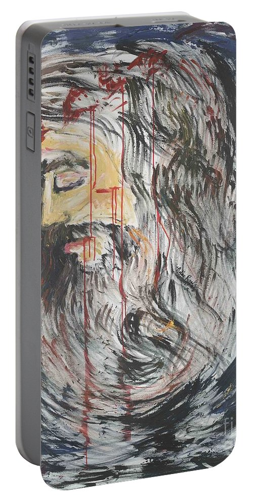 Jesus Portable Battery Charger featuring the painting Gethsemane To Golgotha IIi by Nadine Rippelmeyer
