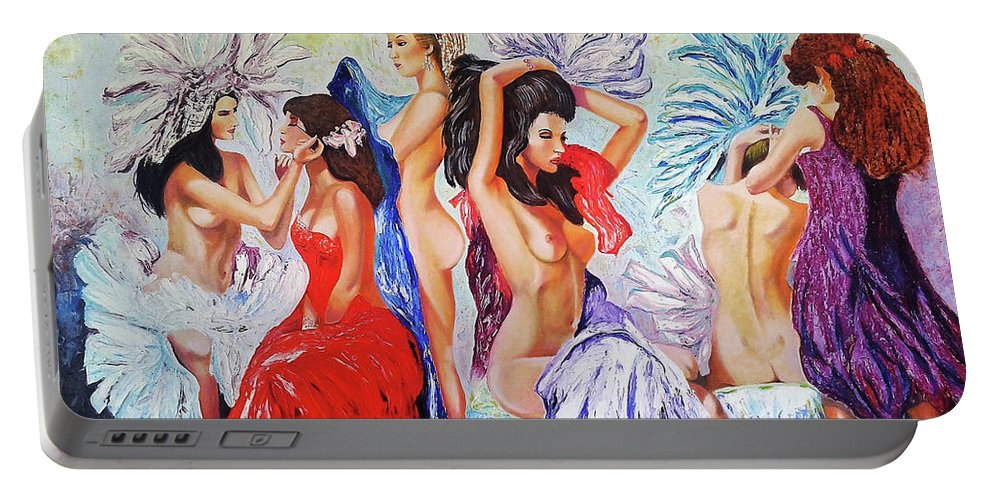 Women Portable Battery Charger featuring the painting Getting Ready by Jose Manuel Abraham