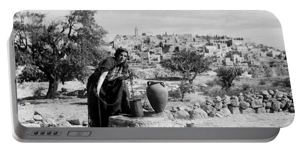 Bethlehem Portable Battery Charger featuring the photograph Getting The Water by Munir Alawi