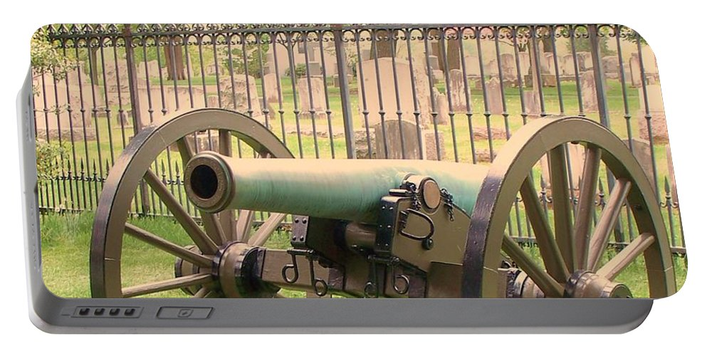 Gettysburgs Portable Battery Charger featuring the painting Gettysburg Cannon Cemetery Hill by Eric Schiabor