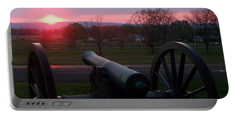 Gettysburg Cannon Portable Battery Charger featuring the painting Gettysburg Cannon by Eric Schiabor
