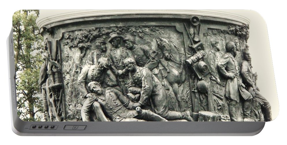 Gettysburg Portable Battery Charger featuring the photograph Gettysburg Monument by Eric Schiabor