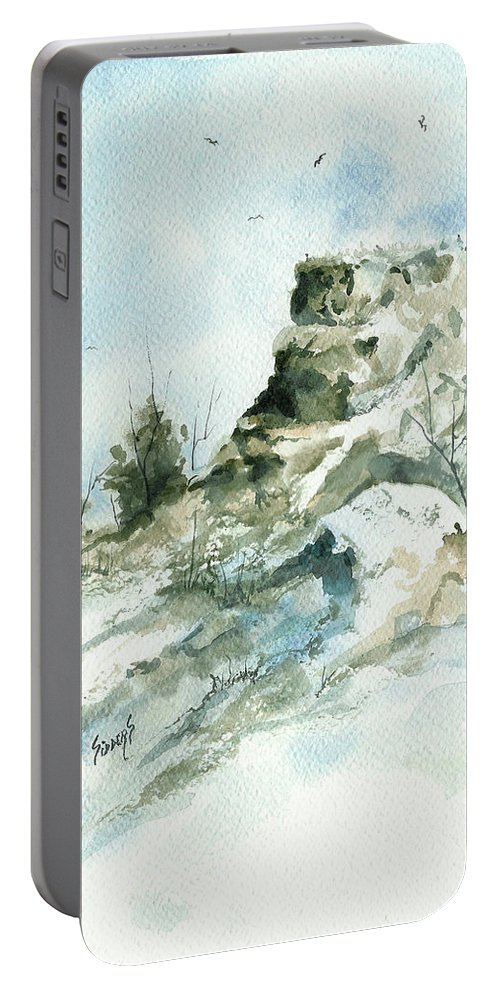 Ghost Portable Battery Charger featuring the painting Ghost Mound - 090219 by Sam Sidders