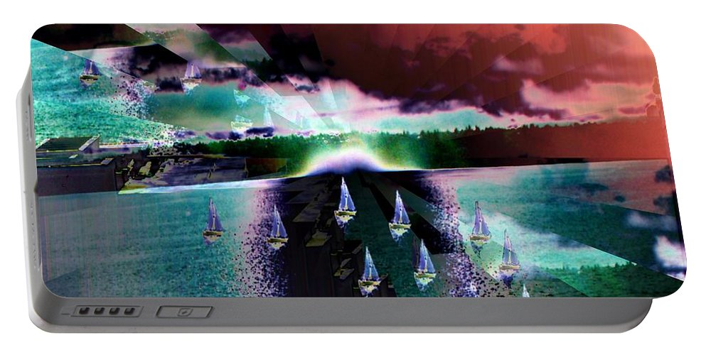 Seattle Portable Battery Charger featuring the digital art Ghost Regatta by Tim Allen