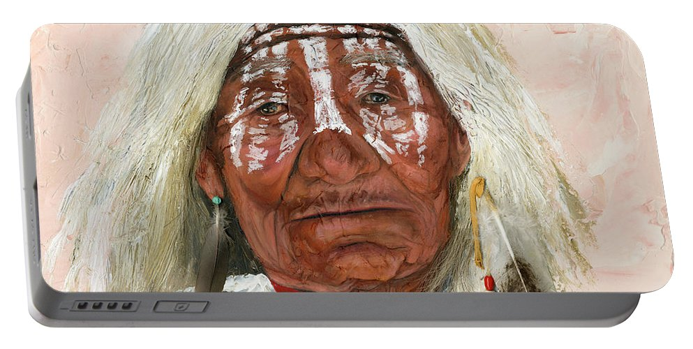 Southwest Art Portable Battery Charger featuring the painting Ghost Shaman by J W Baker