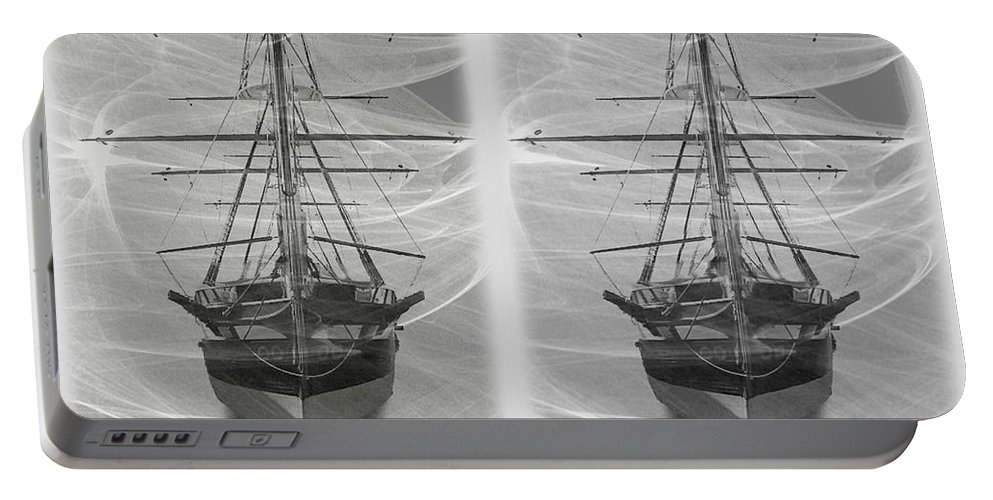 3d Portable Battery Charger featuring the photograph Ghost Ship - Gently Cross Your Eyes And Focus On The Middle Image by Brian Wallace