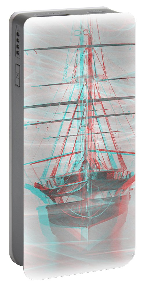 3d Portable Battery Charger featuring the photograph Ghost Ship - Use Red-cyan 3d Glasses by Brian Wallace