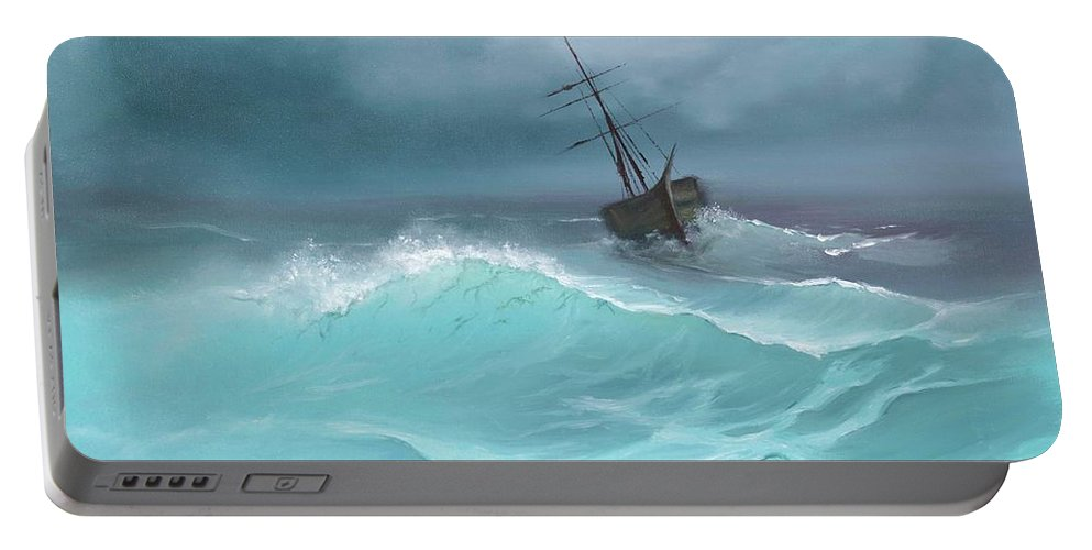 Seascape Portable Battery Charger featuring the painting Ghost Ship by Gail Krol