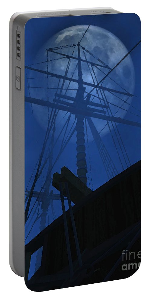 Ghost Ship Portable Battery Charger featuring the digital art Ghost Ship by Richard Rizzo