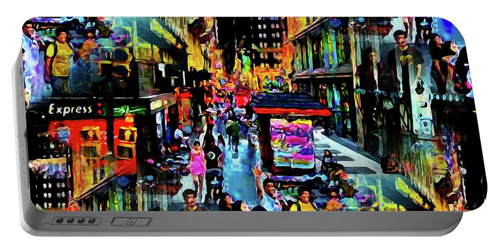 World's Portable Battery Charger featuring the digital art Ghostly Shopping Center by Ron Fleishman